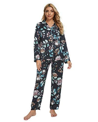 GOSO Pijama de satén para Mujer con Botones de Seda de Manga Larga y Pantalones Ropa de Dormir...