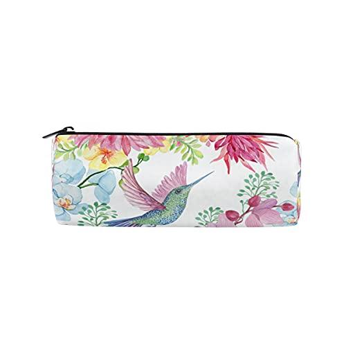HaJie - Astuccio portapenne con fiori di orchidea e colibrì, con cerniera, per ragazze, ragazzi, donne, uomini
