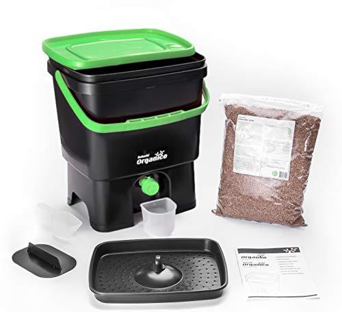 Skaza - mind your eco Bokashi Poubelle Organico de compostage pour déchets de Cuisine - Poubelle de compostage pour Micro-organismes efficaces (Noir/Vert)