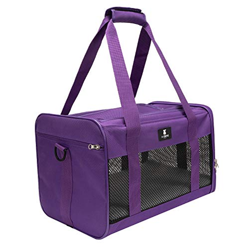 X-ZONE PET Airline Approved Soft-Sided Pet Travel Carrier for Dogs and Cats, Medium Cats Small Cats Carrier,Dog Carrier for Small Dogs, Portable Pet Travel Carrier,Purple