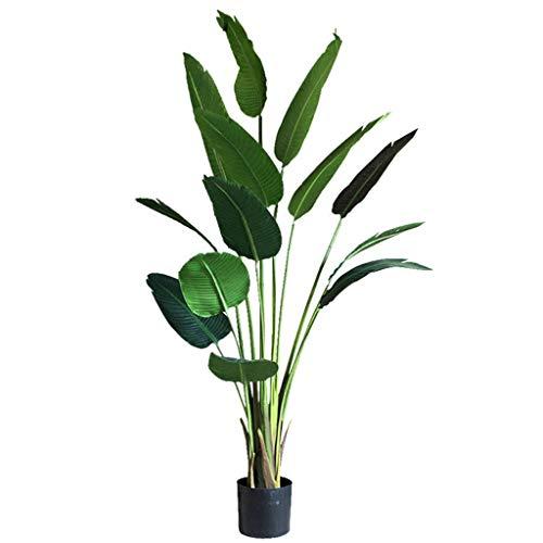 BOWCORE Verde Grande Simulación plátano viajeros 150cm Grande Artificial Plant Simulation Tropical Planta Planta Bonsai árbol de plátano Falso árbol decoración Floral Cubierta (Size : 150cm)