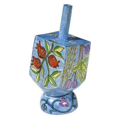 Emanuel Small Wooden Dreidel Ornament with Stand Hand-Painted Seven Species Design (DRS-6A)