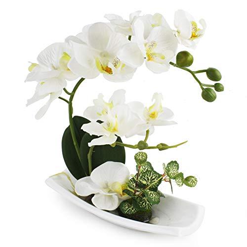True Holiday - Arreglos de orquideas artificiales con jarron en porcelana blanca, flores y plantas artificiales para decoracion de interiores, de plastico, diseno realista