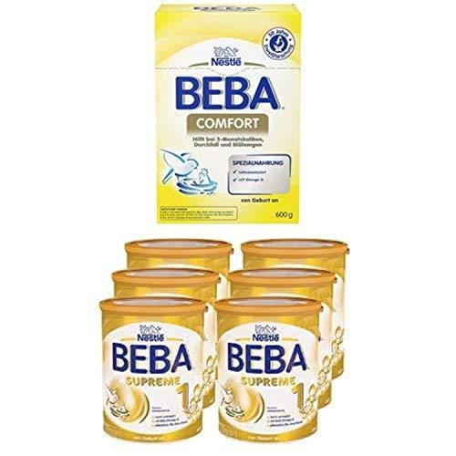 Nestlé BEBA Comfort Spezialnahrung, von Geburt an, 600 g Faltschachtel,  3er Pack (3 x 600 g) + SUPREME 1 Babymilch, von Geburt an leicht verträgliche Säuglingsanfangsnahrung