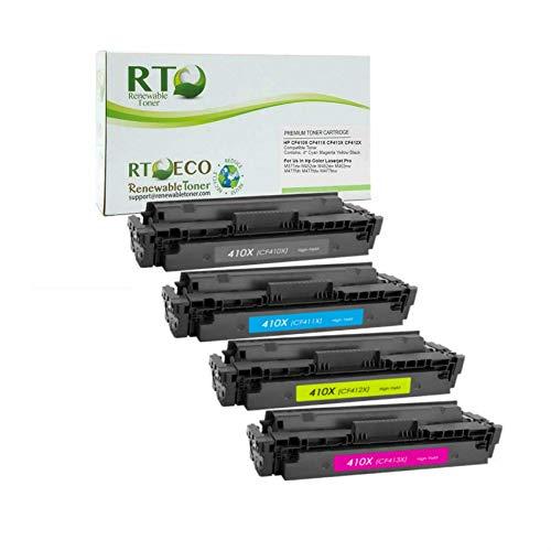 Renewable Toner Compatible High Yield Toner Cartridge Replacement for HP 410X CF410X CF411X CF412X CF413X Laserjet Pro M377 M477 M452 (CMYK 4-Pack)