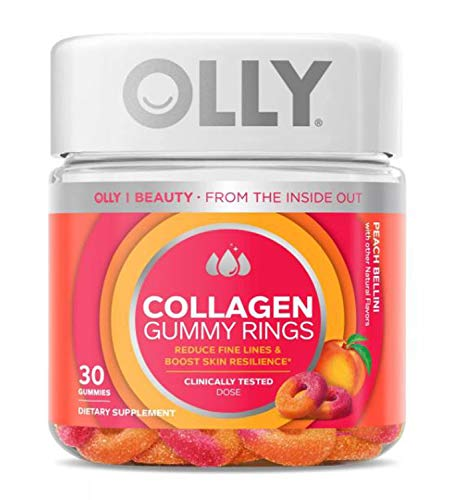 Olly Collagen Gummy Rings! 30 Gummies Peach Peach Bellini Flavor! Formulated with Bioactive Collagen Peptides! Reduce Fine Lines and Boost Skin Resilience! Choose Your Pack! (1 Pack)