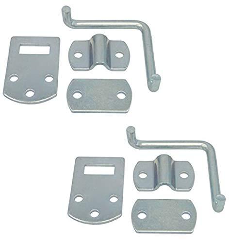 Pkg of (2) Corner Gate Latch Sets for Stake Body Gates - Clear Zinc