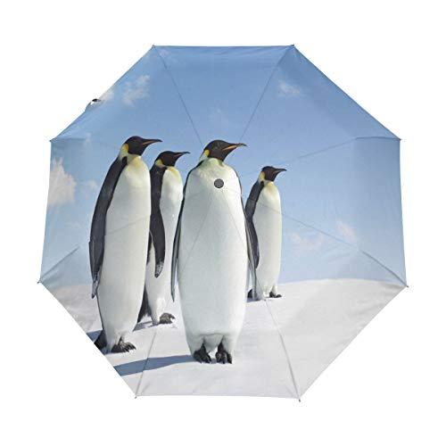 Hunihuni Tier-Antarktis Pinguin-Regenschirm, automatisch, faltbar, Winddicht, wasserdicht, UV-Schutz, Sonnenschutz