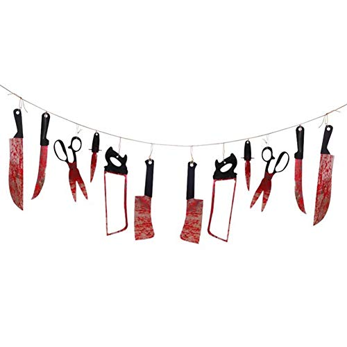 Xpccj Halloween Banner Scary Bloody Weapon Garland Banner Zombie Theme Hanging Banner Horror Prop Halloween Decoration