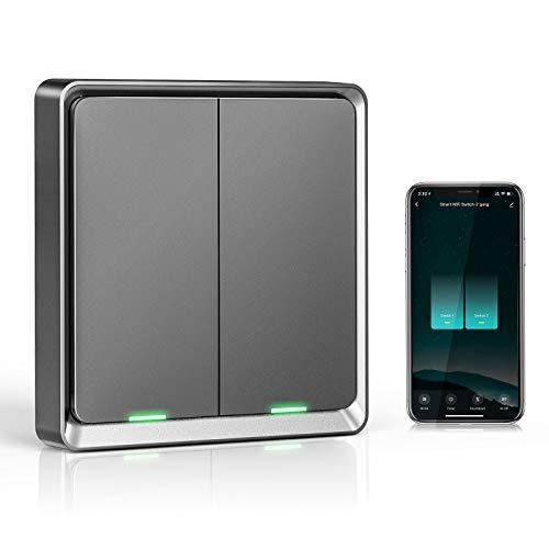 Wifi Interruptor Alexa 2 Gang, Etersky Interruptor Inteligente Compatible con Alexa y Google Home, Interruptor Pared Luz Control APP, Smart Home Interruptor Tactil con Temporizador, Neutral Requerido