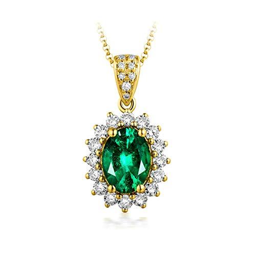 Daesar Collana Oro Giallo 18K 0.75ct Smeraldo Diamante Verde Fiore Ovale Collane Donna Ciondolicollana Donna Oro