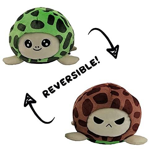 LESIXW Juguete de Tortuga de Doble Cara, Juguete de Felpa de Tortuga Reversible, Verde y marrón, cambie el Color - para Mostrar su Estado de ánimo