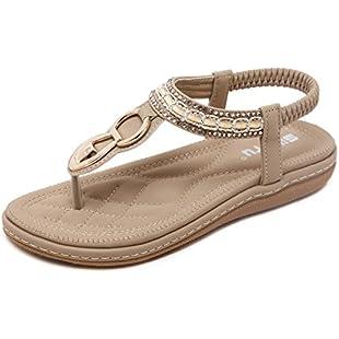 Customer reviews Women's Sandals Rhinestone Flat Toe Sandals Elastic Dew With Strap Flat Bottom Strap Toe Shoes Bohemian,Beige,41:Savelaguasia