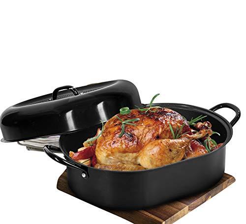 "Granitestone 18"" Nonstick Roaster, Covered Oval Aluminum Roasting Pan for Turkey, Poultry, Meats, Baking & More – Dishwasher Safe, black, large"