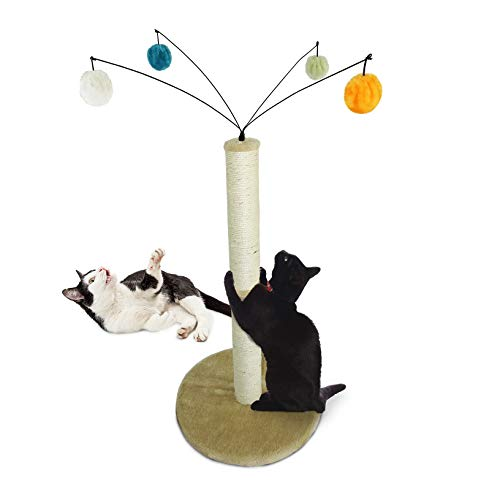 Price comparison product image Furhaven Pet Cat Furniture / Tiger Tough Fuzz Ball Hanging Toy Cat Scratcher Post Entertainment Cat Tree Playground for Cats & Kittens,  Cream