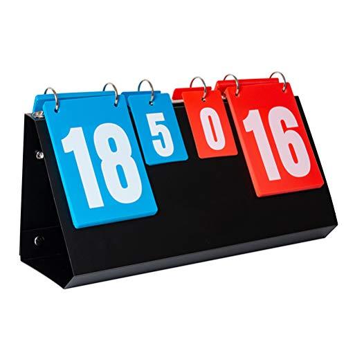 LIOOBO Anzeigetafeln Tragbar 4-Stellige 0-30 Doppelseitig Faltbar für Tischtennis, Basketball, Badminton Wettbewerb mit Pfeife