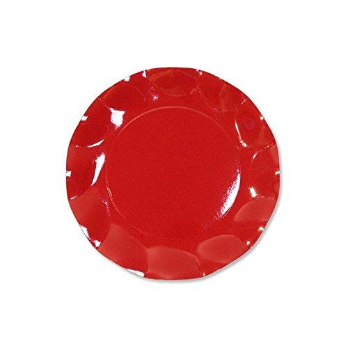 10 Assiettes Jetables Rouge 21cm