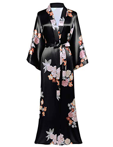 BABEYOND Damen Morgenmantel Maxi Lang Satin Sommer Kimono Kleid Blumen Muster Kimono Bademantel Damen Lange Robe Blumen Schlafmantel Girl Pajama Party (2-Schwarz)