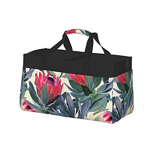 Bolsa extra grande para uso general, cesta de lona de playa reutilizable de gran tamaño, bolsa de compras pintada con patrón de protea