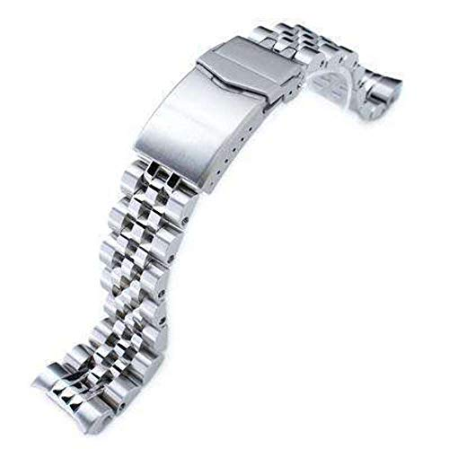 Cinturino orologio 20mm ANGUS Jubilee acciaio inossidabile 316L cinturino orologio per Seiko MM300 Prospex Marinemaster SBDX001, spazzolato/lucidato, chiusura a V