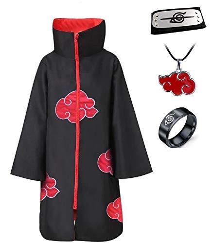Disfraz de Itachi Uchiha (Akatsuki) del anime Naruto para cosplay, Halloween, Navidad y fiestas. Capa con banda, collar y anillo -  Negro -  Large