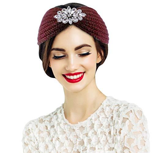 Seguire Damen Gestrickt Stirnband,Turban, Kopfwickel, elastisches Haarband,Wasser Diamant gestrickt Stirnband, Ohrwärme Kopfwickel Winter Kopfwickel elastische Accessoires Haar