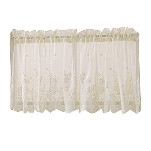 VOSAREA - Cortinas de Nivel Window Treatment Valance Sheer Window para Cocina, baño, Dormitorio, salón, 74 x 61 cm, Color Blanco