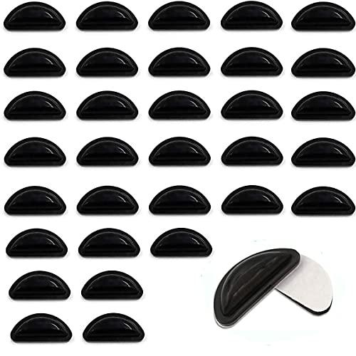 メガネ鼻パッド シール 眼鏡 メガネ 鼻パッド 柔らかい 16組みセット 厚み3.5mm エアシリコン クリアテープ 痛み防止高さ調節 ずれ落ち防止 メガネ跡防止 色素沈着予防 交換 収納ケース付 (ブラック)