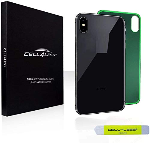 CELL4LESS Back Glass Replacement Compatible w/The iPhone Xs MAX Including Wide Camera Hole, Adhesive & Removal Tool (Black)