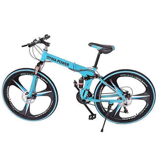 Liju 26 in Outdoor Folding Portable Mountain Bike Shimanos 21 Speed Carbon Steel Bicycle Full Suspension MTB Bikes (Blue)