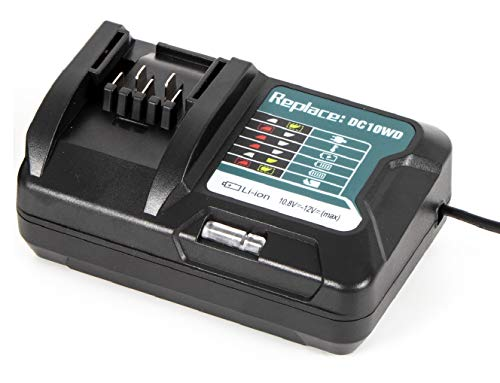 URUN - Cargador rápido para Makita (10,8 V-12 V, con pantalla LED, para DC10WD DC10SB DC10WC BL1015 BL1016 BL1021B BL1041B)