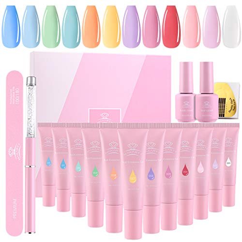 Makartt QikGel Nail Kit, Nail Builder Gel Verlängerungsgel Nägel Gel Nail Builder French Set Nail Art Design Technician Kit LED Lamp Required