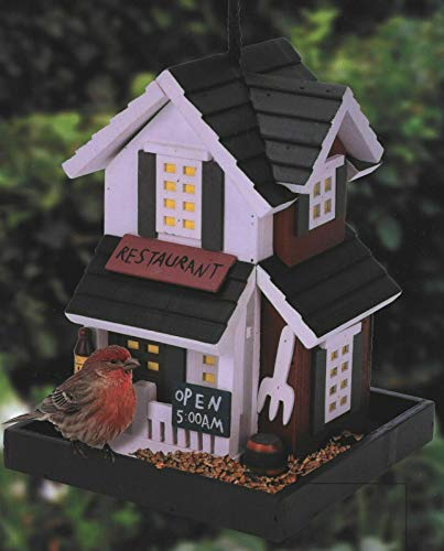 ARBORIA Wooden Bird House Restaurant Design Wooden Hanging Bird House for the Garden | Unique Novelty Bird Nesting Box Garden Decorations | Bird Hotel Cabin for Wild Birds
