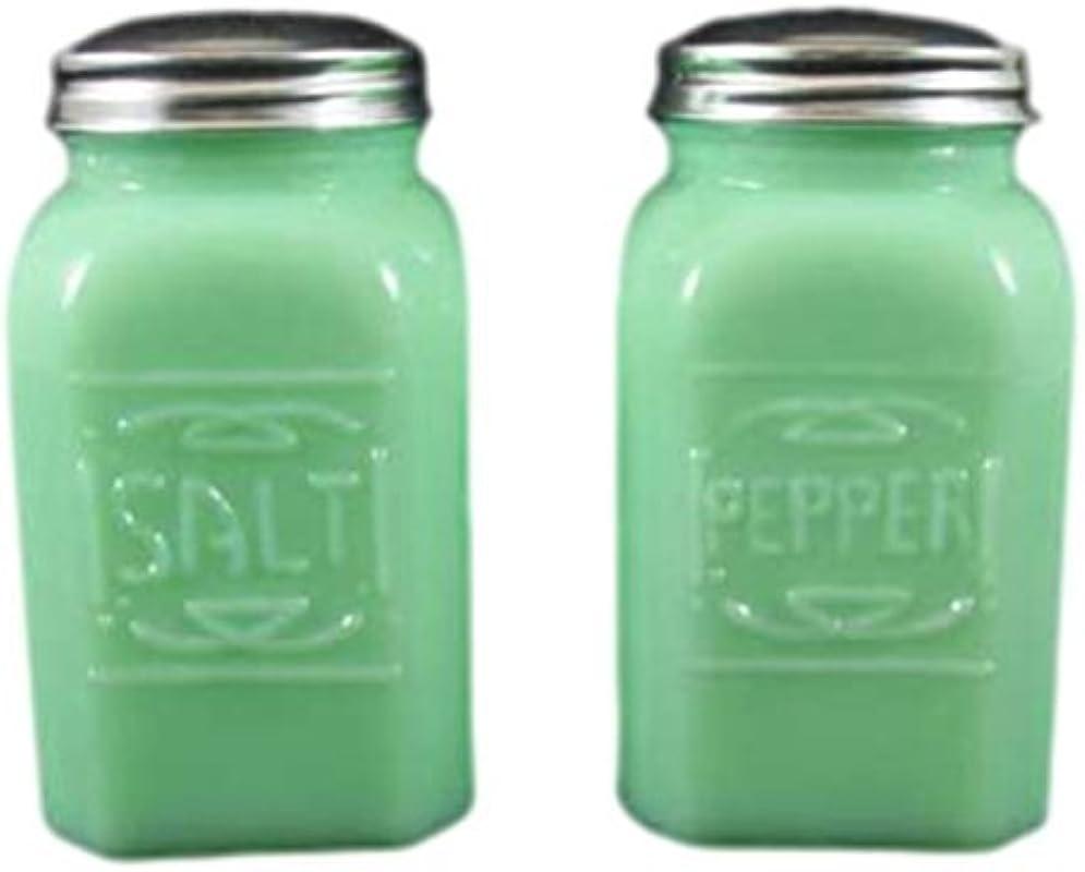 Jade Jadeite Jadite Range Square Embossed Salt Pepper Shaker