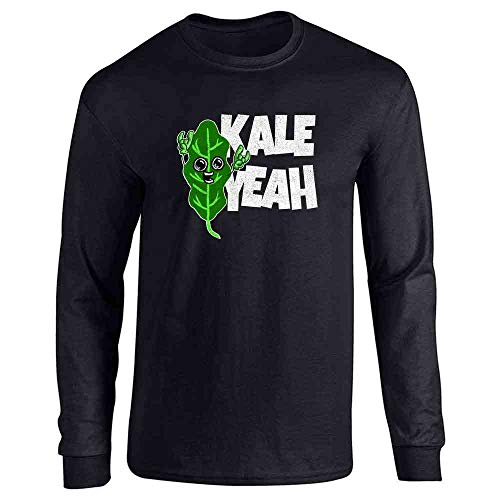Pop Threads Kale Yeah! Funny Vegan Vegetarian Black L Full Long Sleeve Tee T-Shirt