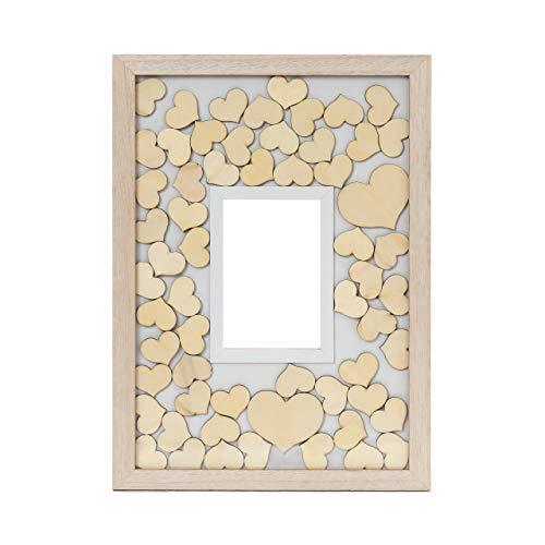 Lumaland Gästebuch aus Holz mit Fotorahmen in der Mitte + 75x individuell gestaltbare Holzherzen -...