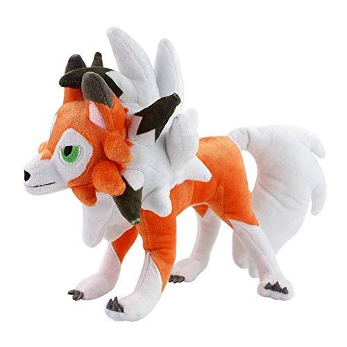 Boufery Lycanroc Twilight Form Plush Toy 25cm, muñecos de Animales de Peluche Suaves, Juguetes de Dibujos Animados para niños Regalo de cumpleaños para niños 25cm (Postura de pie)