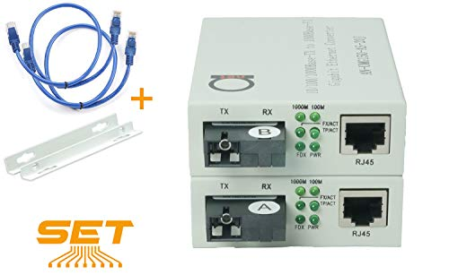 Single Mode SC WDM Single Fiber Bi-Di Gigabit Media Converter - Built-in Fiber Module 20km (12.42 Miles) – to UTP Cat5e Cat6 10 100 1000 RJ-45 – Auto Sensing Gigabit or Fast Ethernet Speed -1 Pair