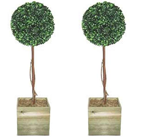 2 X Artificial Trees - 3ft Topiary Ball Trees Topiary Trees