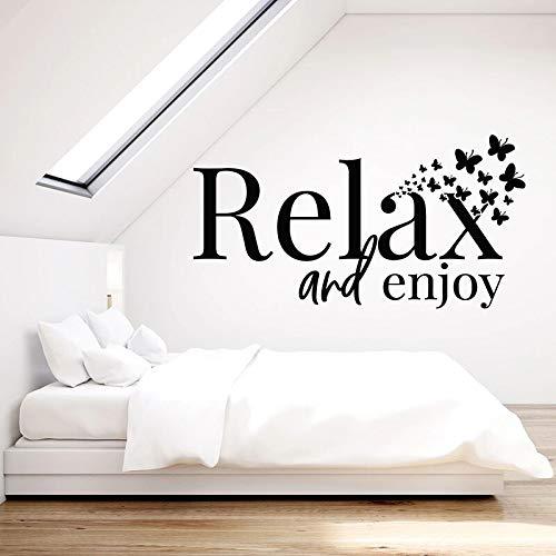Relájese y disfrute el texto de la etiqueta de la pared decoración interior del hogar dormitorio yoga spa sala de vinilo etiqueta de la ventana mural de la mariposa