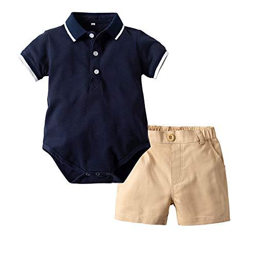 Bebé Polo Monos y Pantalones Cortos 2 Piezas Niños Mameluco de Algodón Pantalones 18-24 Meses
