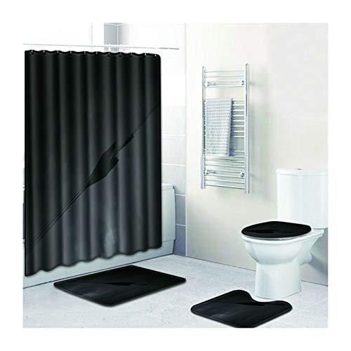 Daesar Schwarz Pfeil 45x75 Badematte WC Vorleger Set, Lustiger 180x180 Duschvorhang Antischimmel, Badematten 4Teilig Set