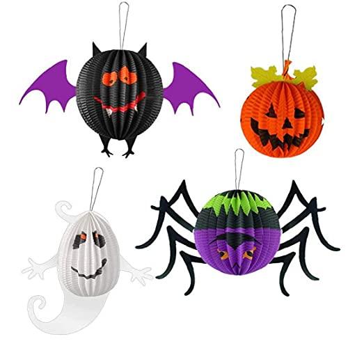Naisidier Decoración de la Linterna de Papel de Halloween Linterna Plegable del Panal de la araña del Panal de la lantería de la Calabaza para el Partido 4pcs