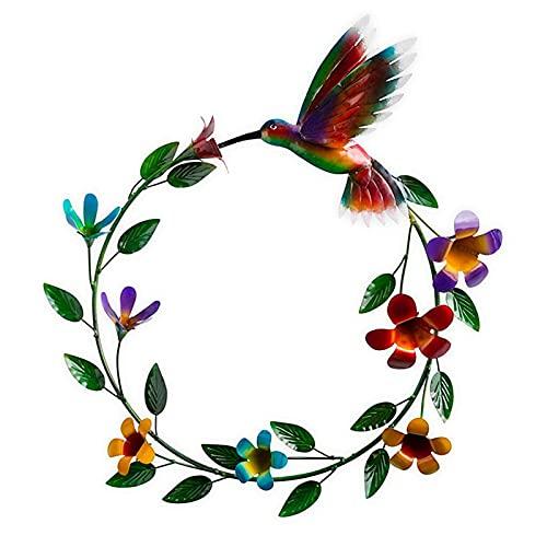 Xingying Colgante de colibrí acrílico, corona de flores con colibrí para jardinería, decoración interior
