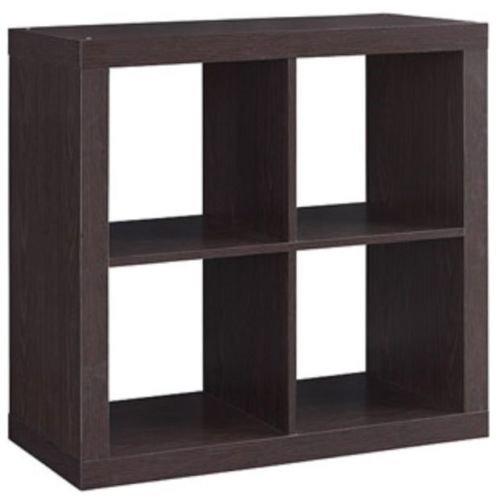 Better Homes and Gardens Bookshelf Square Storage Cabinet 4-Cube Organizer (Espresso, 4)