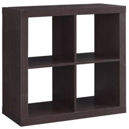 Better Homes and Gardens Bookshelf Square Storage Cabinet 4-Cube Organizer (Espresso, 4)