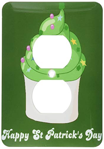 Einzelne Duplex-Wandplatte, Steckdosen-Wandplatte, Happy Saint Patricks Day, St. Paddys, süßes grünes Cupcake, Kawaii, irisches Geschenk, Irland-Kleeblätter, 2 Steckdosen Abdeckung