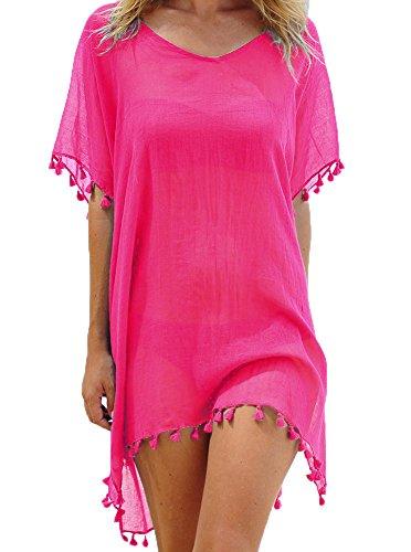Donne Chiffon Nappa Costume da bagno Abito Da Spiaggia Copricostumi e parei Bikini Cover up Taglia unica rosa rossa