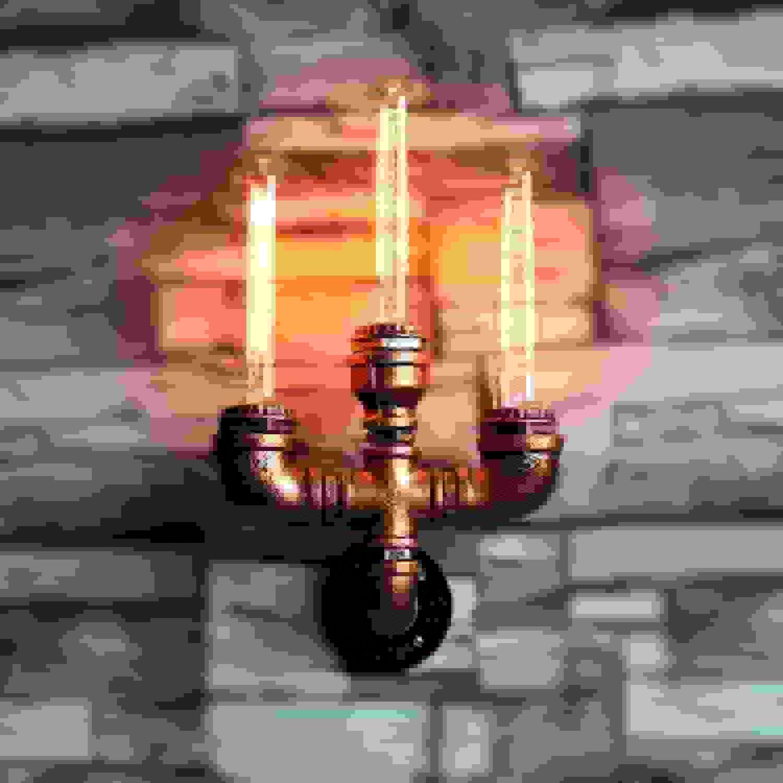 autorización ACZZ ACZZ ACZZ Tubería de agua industrial vintage Loft Restaurante Decoración Apliques Luces Vintage Edison E27 Lámpara de parojo de 3 luces Steampunk Loft Dormitorio Lámpara de noche  barato y de moda