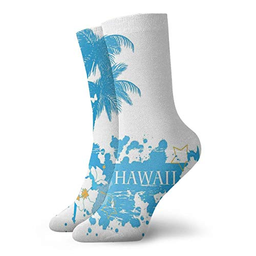 Soft Mid Calf Length Socks,Palm Trees Tropical Plants Flowers And Butterflies Silhouette Monochrome Artwork,Socks for Men Women
